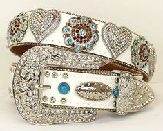 S/M/L/XL ATLAS BELT CONCHO BLING RHINESTONE WHITE HEART TUQUOISE BERRY COWGIRL #Atlas