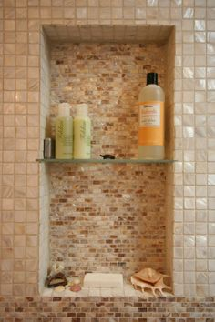 "When putting a shower niche in an existing wall, 12""w x 24""h is a good size. It allows the niche to fit between studs which are often 16 inches apart. With a glass shelf at 12 inches this creates 2 feet of shelf space.  The typical depth of a shower niche is 3.5 inches, the width of a wood stud. In a high rise building, the steel studs may be 2.5 inches deep and this should be considered. This is still wide enough for most bottles."