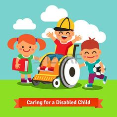 discapacidad: Felices los niños están caminando con personas con discapacidad o en recuperación niño en una silla de ruedas. Ilustración plana concepto de estilo de dibujos animados del vector. Vectores