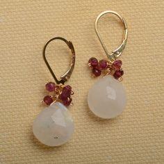 mothers day earrings white moonstone earrings garnet by izuly, $59.00