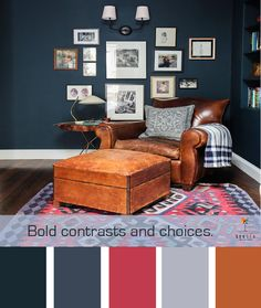 Bold color palette for a living room or dining room with deep blues, grey, leather and even a kick of red.