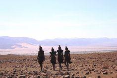 Himba women heading out for a day of harvesting Namibian Myrrh resin in Kaokoland...