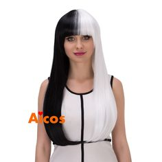 Lolita Cruella Deville Cosplay Wig Black White Synthetic Long Straight Wigs +cap #Aicos #withbangs