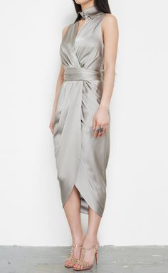 Thomas Wylde Silver Dress | VAUNTE Thomas Wylde, Silver Dress, Silver Stars, Silver Weddings, Silk Wrap, Industrial Style, Beautiful Outfits, Cool Style, Style Me