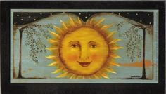 Primitive Folk Art ~ Sun face celestial wood sign