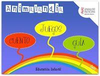 Animalandia es un juego interactivo en formato flash para los más pequeños, compuesto por un cuento que presenta el nombre de diversos animales utilizando la imprenta mayúscula y cuál es el medio por el que se desplazan: aire, tierra y agua.