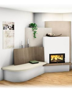 Modern and traditional tiled stove - Sigmund Fireplace Console, Stove Fireplace, Modern Fireplace, Fireplace Wall, Living Room With Fireplace, Fireplace Design, Stair Shelves, Living Room Decor Cozy, Ceiling Design