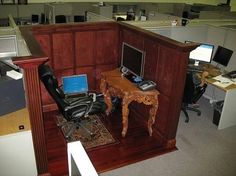 The correct way of decorating your cubicle haha lol this would be me... Lol
