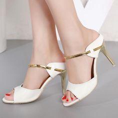 Metal Square Heel Women Sandals Women Heel Shoes Gold Sliver Peep Toe Party Ladies  Sandals 2018 Summer Sandals Woman 1a9117188de7