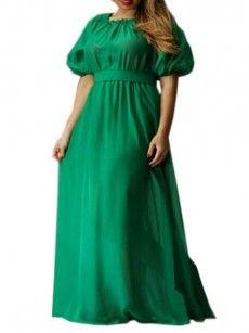 Plain Elegant Boat Neck Plus Size Maxi Dress