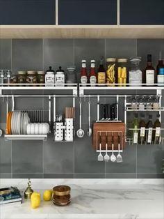 Kitchen Wall Storage, Wall Hanging Storage, Kitchen Pantry Design, Modern Kitchen Design, Home Decor Kitchen, Interior Design Kitchen, Kitchen Organization, Kitchen Shelf Organizer, Small Kitchen Decorating Ideas