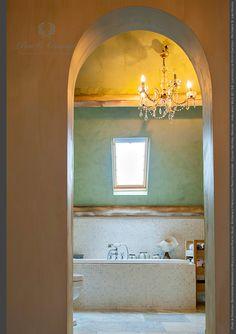 Pure & Original- Bathroom Marrakech Walls color Poetic Blue - Entrence Fresco Lime Paint #Kalkverf - Color: Neutral Ground - published WLS 2013-6 - Location: Le Petit Chateau - Pictures: S. van Hoven