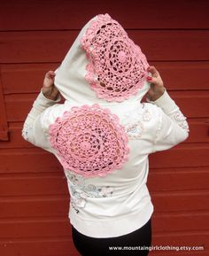 CUSTOM Crochet Cut Out Mountain Girl Hoodie Sweatshirt Made Out Of YOUR own Hoodie By MountainGirlClothing