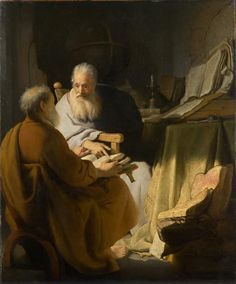 Two Old Men Disputing (St. Peter and St. Paul) (1628) #Art #Artist #Painting #Famous #Rembrandt #Netherlands #Oil #1628