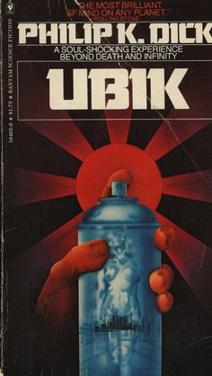 "Great essay on the madness & genius of Philip K Dick! Ubik is one of my favorite books. I can read it over & over. It's probably the strangest choice in what I think of as ""comfort books. Book Cover Art, Book Cover Design, Book Art, Book Covers, Album Covers, Sci Fi Novels, Sci Fi Books, Science Fiction Books, Pulp Fiction"