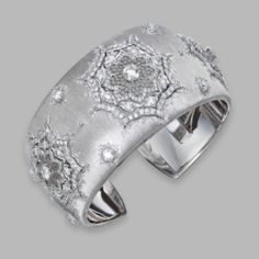18 Karat White Gold and Diamond Cuff Bracelet, Buccellati, Italy