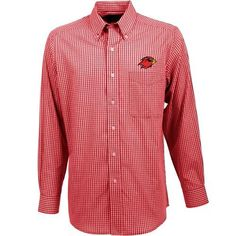 Antigua Men's Lamar University Associate Long Sleeve Dress Shirt (Red, Size Large) - NCAA Licensed Product, NCAA Men's Jersey/Polos at Academy Sports