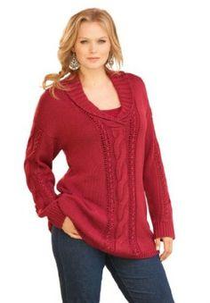 Roamans Plus Size Shawl Collar Sweater (Wine,S) Roamans. $29.99