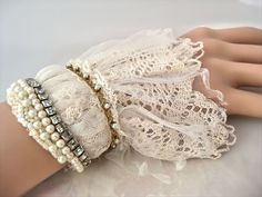 Victorian Wedding lace cuff, Vintage style fabric cuff, bead embroidery cuff, bohemian wedding, gypsy wedding, fantasy on Etsy, $55.00