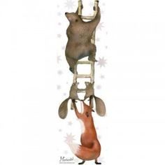 Muursticker dieren op ladder
