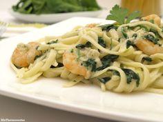 Tallarines con pasta y espinacas - MisThermorecetas