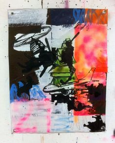 Hermann Josef Hack, CHANGE, 151128, painting and spray paint on tarpaulin, 98 x 77 cm, 2015