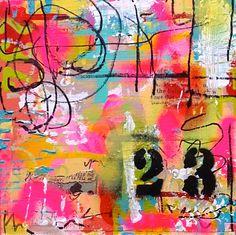 Twenty Three Lorette C. Luzajic abstract mixed media collage painting fine art original art painting by LorettesArt on Etsy