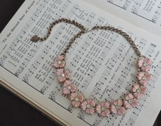 Vintage Pink Flower Necklace