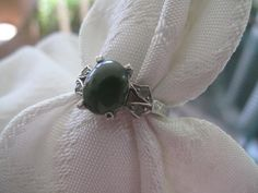 Sterling and Jade Vintage Ring by mimiyaya on Etsy, $22.00