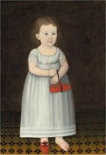 American 19th Century Folk Art portrait of a young girl, one bare foot, holding her red shoe. Unusual subject matter and charming.