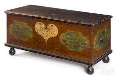 Pennsylvania painted pine dower chest, dated inscribed Elisabeth Unger, retaining its original decorated surface, 24