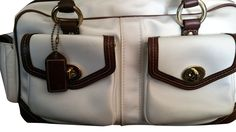 $82. Coach Satin Ivory  White Brown Leather Bag 4452-- MSRP $498 -Gently Pre-owned+ #Coach #Satchel