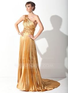 A-Line/Princess One-Shoulder Court Train Tulle Charmeuse Prom Dress With Appliques Pleated (018015060) - JJsHouse