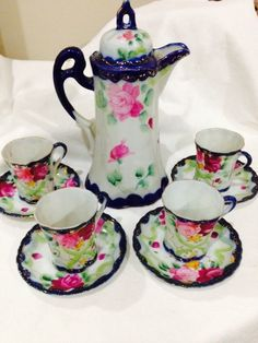 Antique Unmarked Hand Painted Nippon Chocolate Pot With 4 Cups And Saucers #UnmarkedNippon