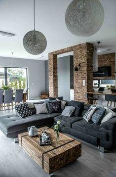 deco-contemporaine-accents-rustiques-canapé-d-angle-gris-coussins-table-basse-en-bois-diy-arc-en-briques-cuisine-coin-repas-salon-moderne