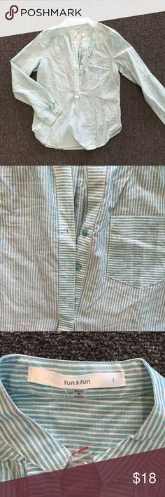 Fun2Fun Blue & White Stripped Button Down Blouse NWOT. So cute and perfect for work. Breast pocket, chic look, and it comes with an extra button! fun2fun Tops Button Down Shirts