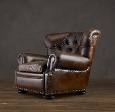 "Churchill leather reclining chair from Restoration Hardware. A man's chair, a chair that says ""Bring my brandy and cashmere sweater while I finish this cigar and then order you diamonds."""