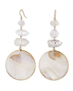 Mother-of-Pearl Circle Drop Earrings by Devon Leigh at Neiman Marcus.