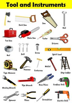 A simple tools and instruments chart with images for kids Teaching English Grammar, English Vocabulary Words, Learn English Words, French Flashcards, Flashcards For Kids, Gernal Knowledge, General Knowledge Facts, Engineering Tools, Plumbing Tools