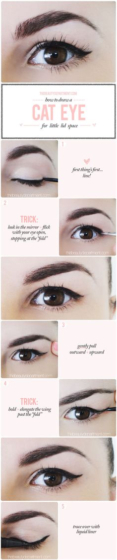 "Many of us think we can't rock a cat eye because we have a ""droopy"" crease that ""folds"" where the wing goes. Think again! These four easy tricks walk you through it and show you how: http://bit.ly/TBD-droopy-lid"