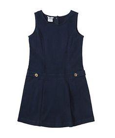 Bienzoe Little Girl's Twill Jumper School Uniforms Button Dress Navy Size 5