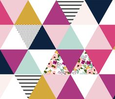 Triangle Cheater Quilt Wholecloth Pattern fabric by sweeterthanhoney on Spoonflower - custom fabric