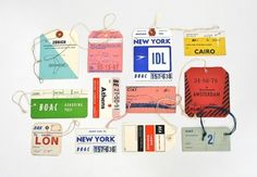 Day 256 of A Collection a Day 2010 by Lisa Congdon - Vintage Airline Baggage Tags Vintage Luggage Tags, Old Luggage, Vintage Tags, Luggage Labels, Vintage Avon, Vintage Labels, Vintage Ephemera, Travel Luggage, Tag Design