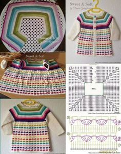 [ Lovely and Inspirational crochet, Discover thousands of images about Cardigan, Rocio Crochets added a new photo., love the little harts.Ideas crochet jacket toddler cardigan sweaters for round neck yoke chart for all sizes from baby to Mode Crochet, Crochet Girls, Crochet Baby Clothes, Crochet Round, Crochet For Kids, Diy Crochet, Crochet Top, Crochet Toddler, Crochet Dresses