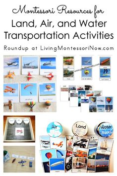 Montessori printables and activities for land, air, and water transportation sorting and other activities; perfect for Montessori preschool geography activities at home or in the classroom! Transportation Preschool Activities, Preschool Activities At Home, Transportation Unit, Geography Activities, Montessori Preschool, Montessori Activities, Water, Sorting, Printables