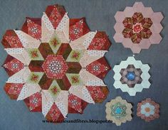 """Faeries and Fibres: What size of hexagon should I use? Karen H says """"The large rosette on the left is my New Hexagon Millefiori Quilt that I am making as part of Katja's free Quilt Along. I still have one more round of hexagons to go. Each hexagon measures 3"""". The rosette on the upper right is 1 1/4"""". The rosette below it is made of 1"""" hexagons. The rosette on the bottom left is made of 3/4"""" hexagons and on the bottom right 1/2"""" hexagons."""""""