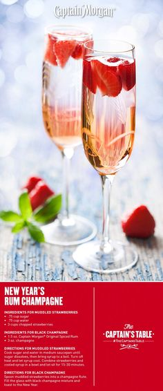 Champagne with Captain Morgan & Strawberries!  Ring in the New Year adventurously with this twist on a classic holiday #cocktail