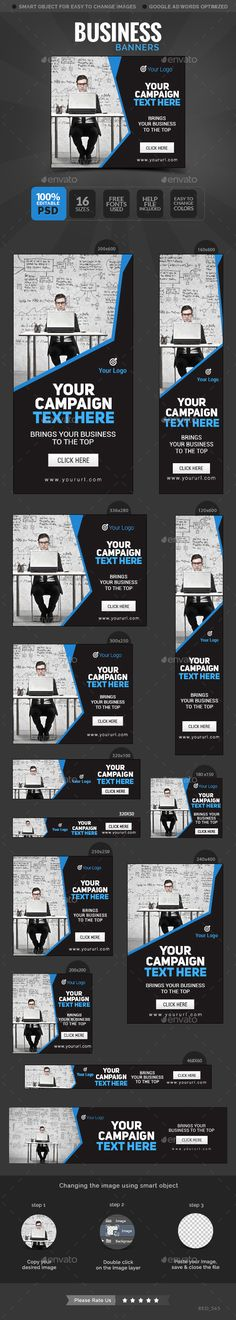 Business Banners Template #design #web #ads Download: http://graphicriver.net/item/business-banners/12680009?ref=ksioks