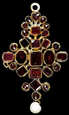 Gold pendant set with garnets and hung with a pearl, with an enamelled back. Possibly German, ca 1650
