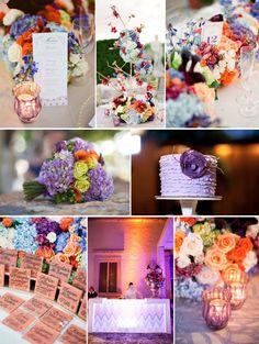 purple orange peach wedding color inspiration board dreamsical